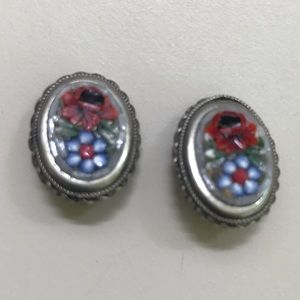 Vintage Mosaic Silver Clip On Earrings